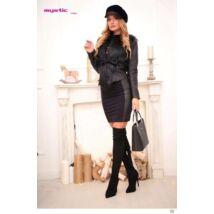 Mystic Day Szőrös-Bőrös kabát fekete